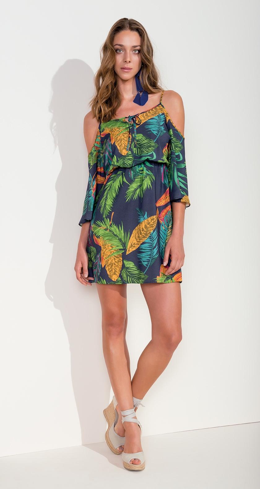 71f51d09b vestido curto ombros vazados estilo cigana estampado folhas botanico